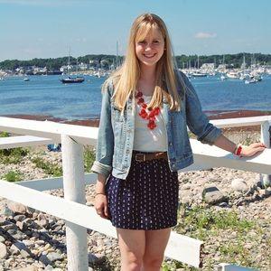 Women's j.crew navy blue/white anchor mini skirt 8